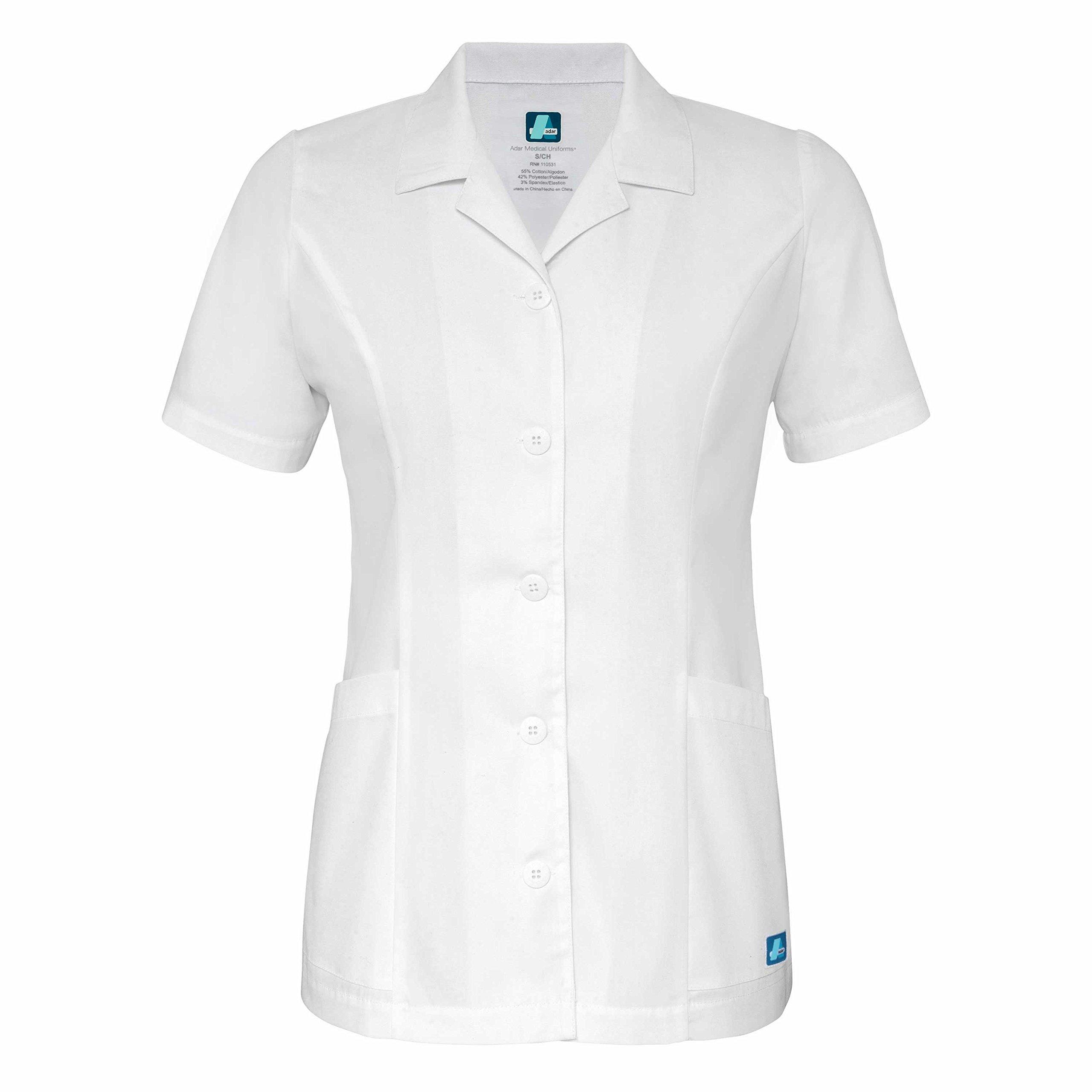 Adar Universal Lapel Collar Buttoned Top - 2629 - White - XL