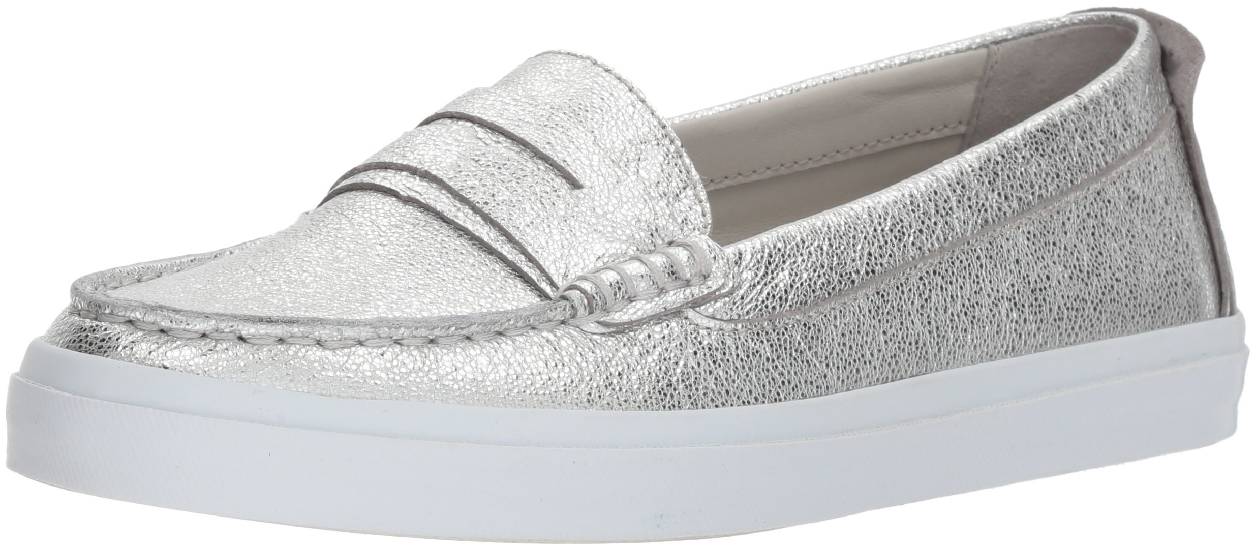 Cole Haan Women's Pinch Weekender LX Penny Loafer, Silver Wash Leather, 6.5 B US