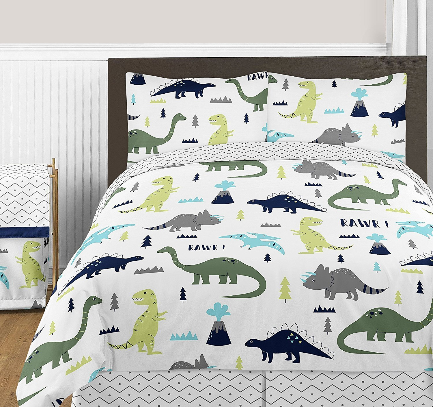 Sweet Jojo Designs 3-Piece Navy Blue and Green Modern Dinosaur Boys or Girls Full / Queen Bedding