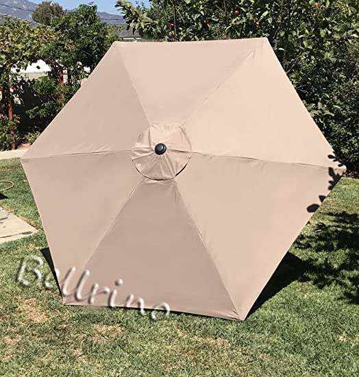 BELLRINO Replacement Umbrella Canopy for 9ft 6 Ribs Tan Light Coffee Canopy Only