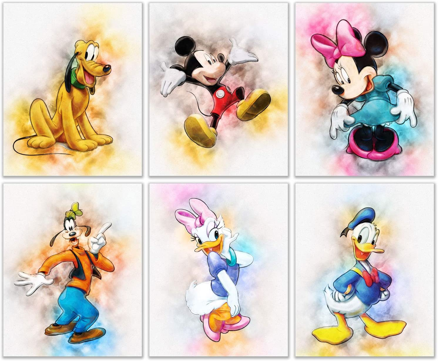 Mickey Mouse Original Watercolor Prints - Set of 6 Nursery Wall Art Decor (8 inches x 10 inches) - Minnie Donald Daisy Duck Pluto Goofy