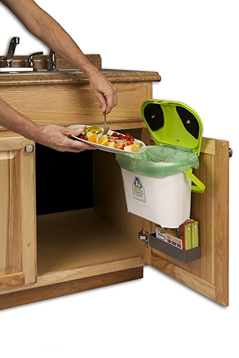 kitchen compost caddy cabinet mounted compost bin pail system with storage for compost bags