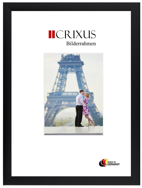 Crixus35 Cadre photo DIN A6 pour 10,5 x 14,8 cm photos, couleur: Noir Mat, cadre en bois MDF fait sur mesure doté d'un verre synthétique antireflet et le panneau arrière de MDF, largeur du cadre: 35mm, dimension extérieure: 16,3 x 20,6 cm