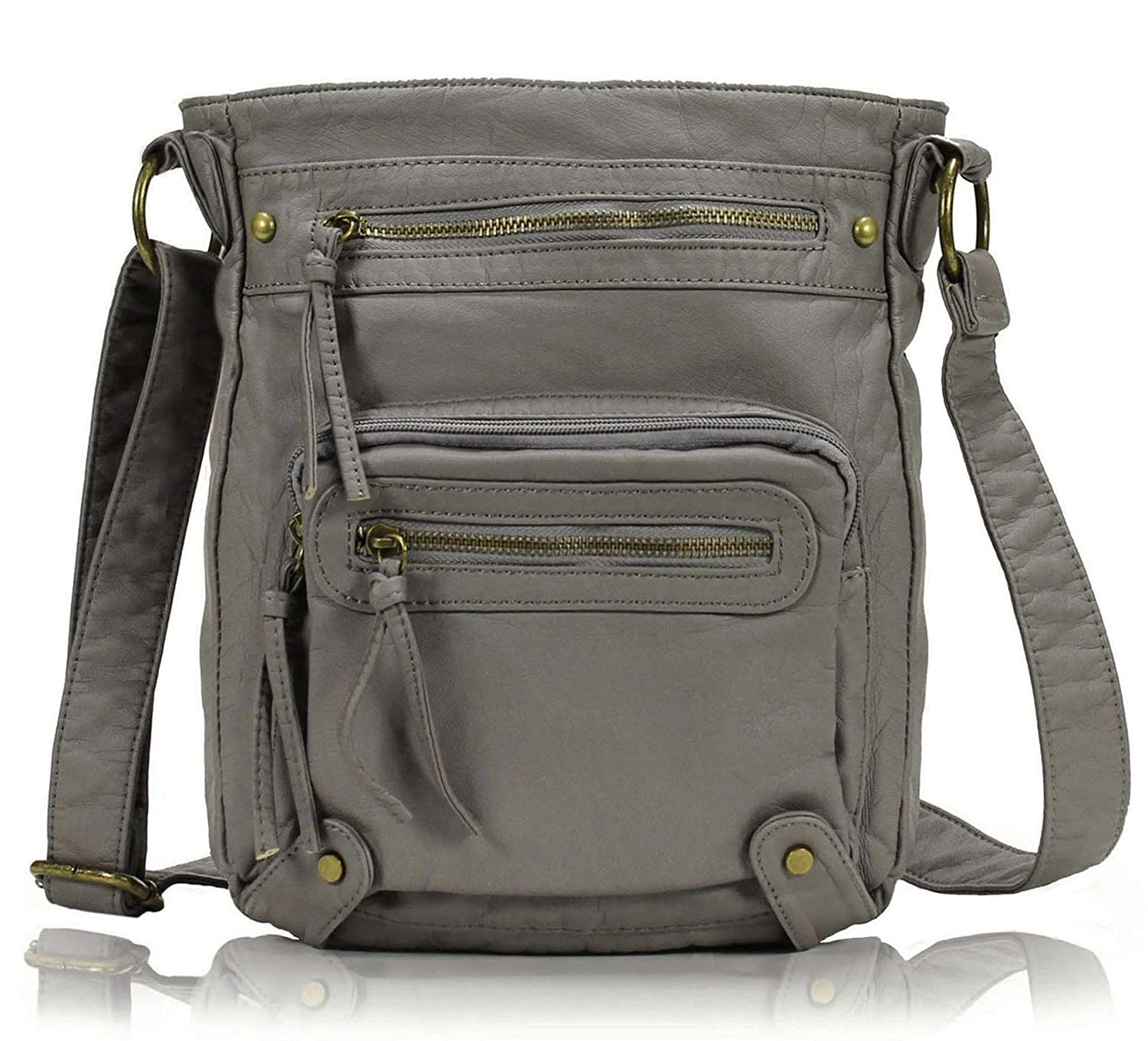 f1a2c892bdf6 Scarleton Washed Multi Pocket Crossbody Bag H169324 - Ash Grey  Handbags   Amazon.com
