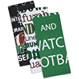 """DII Cotton Everything Football Dish Towels, 18 x 28"""" Set of 3, Decorative Oversized KitchenTowels for Everyday Cooking and Baking"""