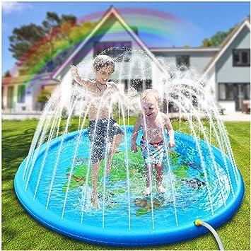 Hangrui Splash Pad, Almohadilla de aspersión Aspersor de Juego,Jardín de Verano Juguete para Niños de 172 cm, para Actividades Familiares Aire Libre /Fiesta /Playa/ Jardín: Amazon.es: Juguetes y juegos