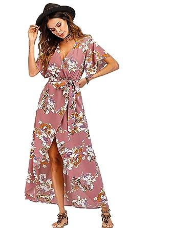 b08ab63115 DIDK Femme Robe Imprimée Robe Fleuri avec Ceinture Robe Floral Robe Maxi  Robe Longue Robe Manche