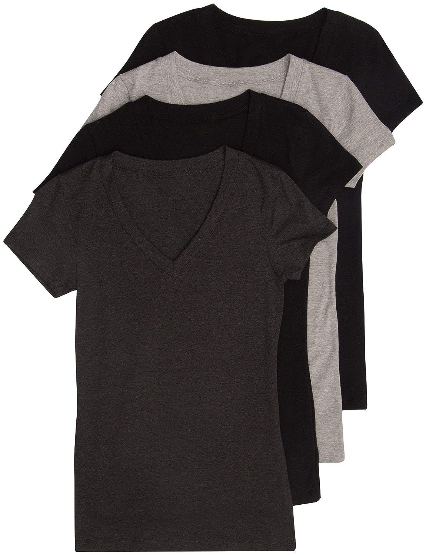 4 Pcs(black,black,charcoal,h,grey) SADACO 4 Pack, 6 Pack Women's Basic VNeck Short Sleeve TShirts