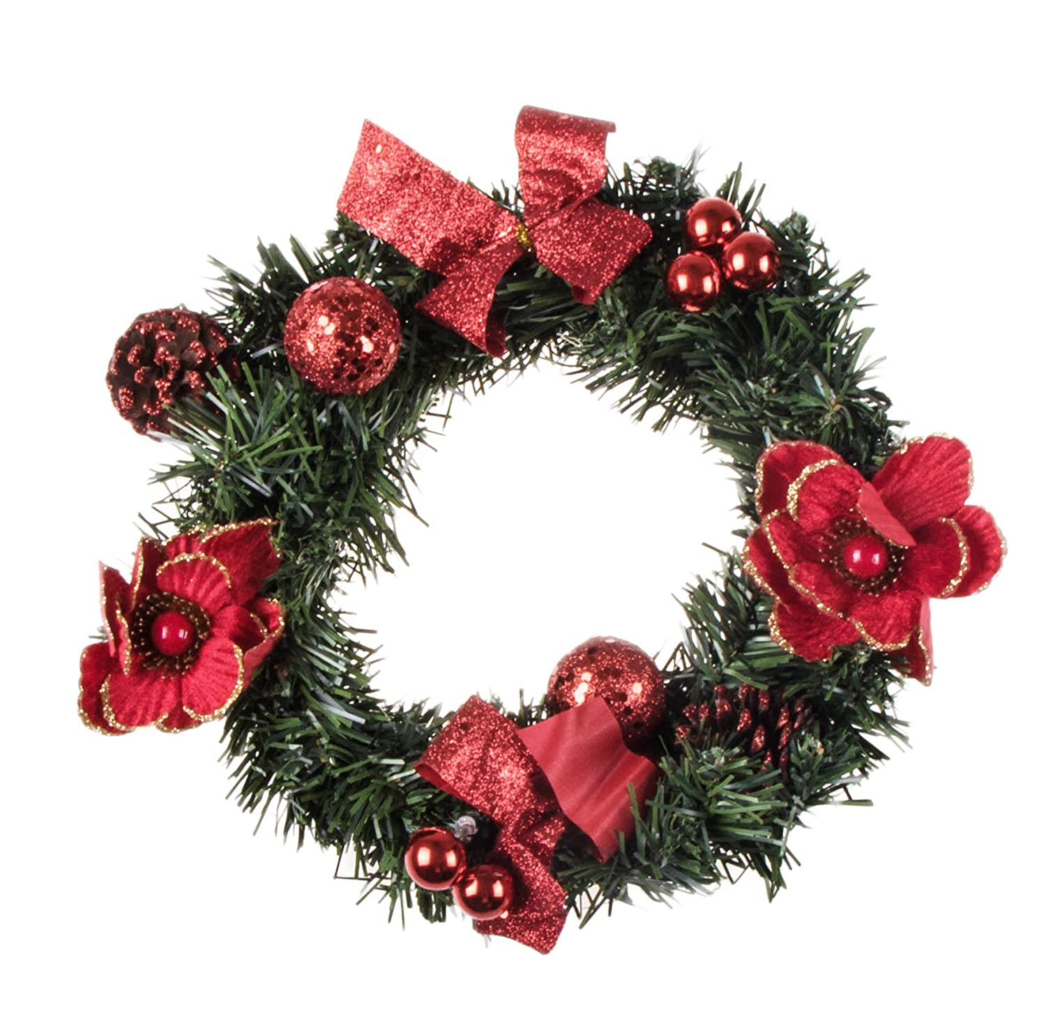 "Christmas Wreath with White Poinsettia, Snow Covered Pine Cones, Gold Bows and Ornaments | Perfect for Interior or Exterior Christmas Decor | Hang on Doors, Walls, Stairs and More! | 10""x10""x3"" Clever Creations No Model"