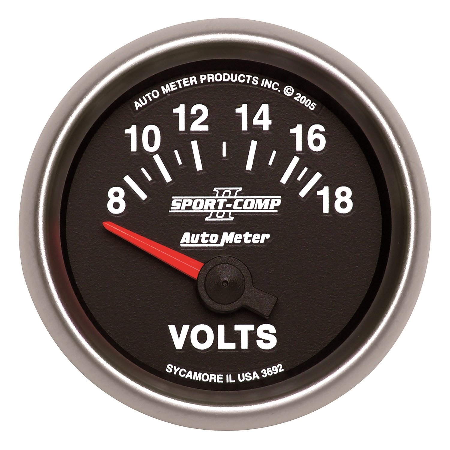Auto Meter 3692 Sport-Comp II 2-1/16'' 8-18V Short Sweep Electric Voltmeter by AUTO METER