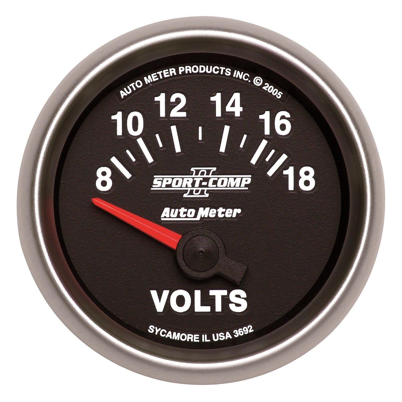 Auto Meter 3692 Sport-Comp II 2-1/16'' 8-18V Short Sweep Electric Voltmeter