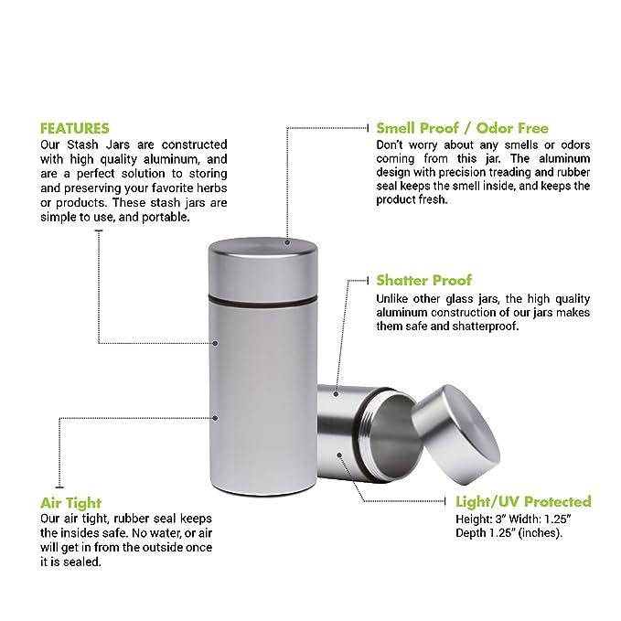 Amazon com: Stash Jar - Airtight Smell Proof Aluminum Herb