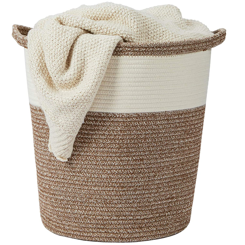 "Tall Cotton Rope Basket – 16""x18""x14"" – Large Woven Basket – Multipurpose Blanket Storage Basket Organizer – Elegant and Modern Design – Ideal for Baby Nursery, Toys, Towels, Laundry Bin"