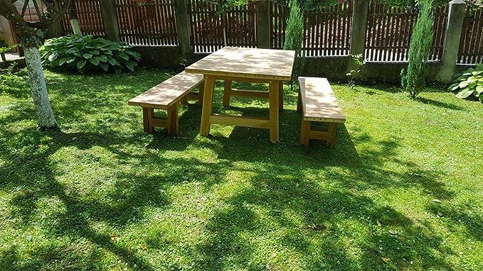 Casa Padrino Juego de Muebles de jardín - Mesa rústica + 2 Bancos de jardín (Longitud: 200 cm) - Madera Maciza de Roble - Muebles de Madera Maciza sólida: ...