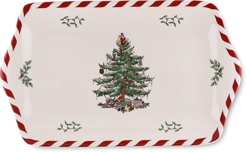 Spode Christmas Tree Peppermint Dessert Tray