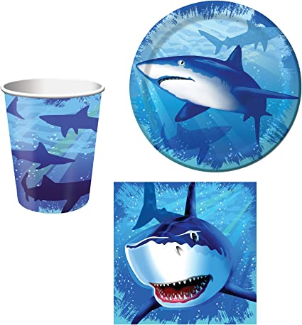 Napkins /& Happy Birthday Banner for 16 Guests Creative Converting Shark Splash Deluxe Birthday Party Supplies Kit Including Dinner /& Dessert Plates