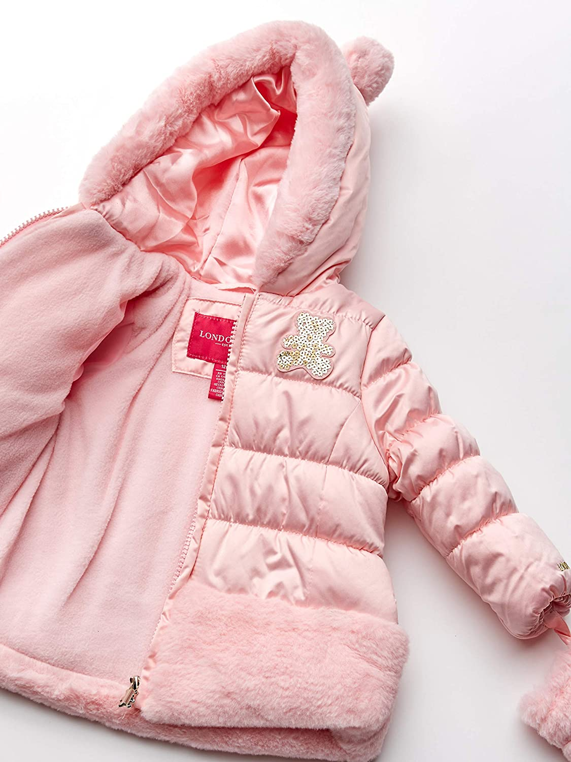 12 Months 1034 London Fog Shiny Shimmer Poly Faux Fur Hooded Coat Baby Girls