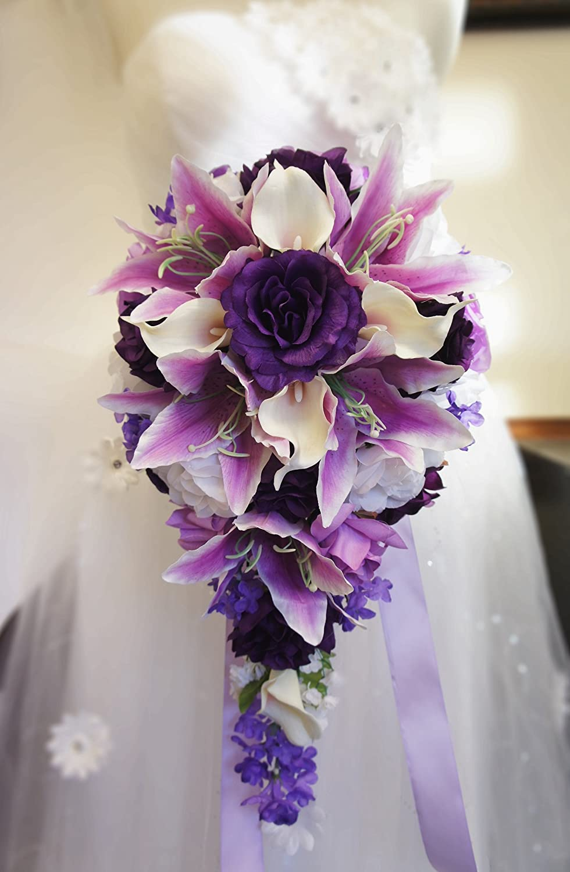 Amazon cascade bouquet purple lavender white artificial amazon cascade bouquet purple lavender white artificial flower arrangement home kitchen izmirmasajfo