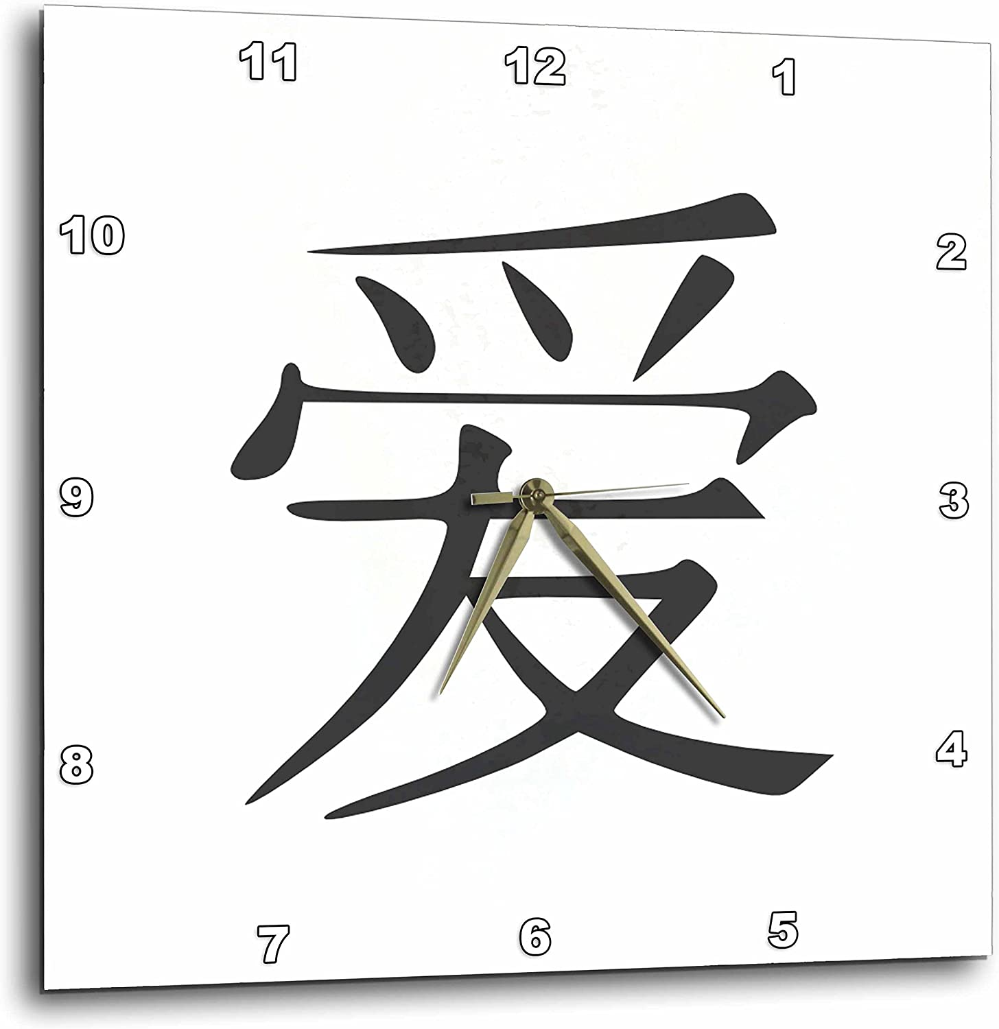 3dRose DPP/_154524/_3 Lovein Simplified Chinese Symbols Black and White Asian China Kanji Characters Romantic Gift Wall Clock 15 by 15-Inch