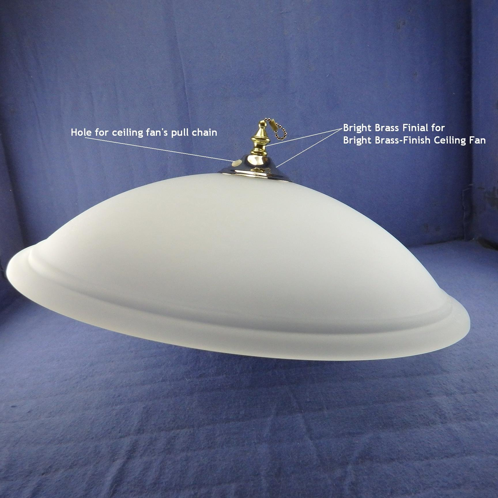 Frosted Glass Bowl w/LED Panel Kit - 7'' Diameter - WARM WHITE (4000K), 4000lumens 17Watts. Complete LED Light KIT for BRIGHT BRASS Ceiling Fan, P/N: SPTL420LMF7-4K+LIGHT KIT#85173-BBR by SOLARA-USA