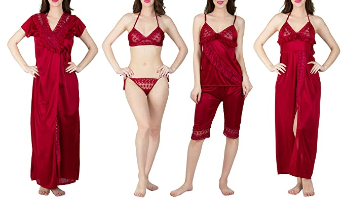 Image Unavailable. Image not available for. Colour  Bombshell Maroon Satin  Nightwear 6pcs Set of Nighty ... 96110947d