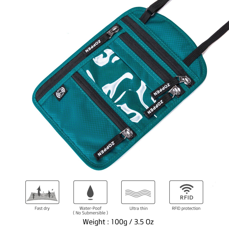 Zoppen RFID Blocking Travel Passport holder Neck Stash Ultra Slim Wallet Aqua Green