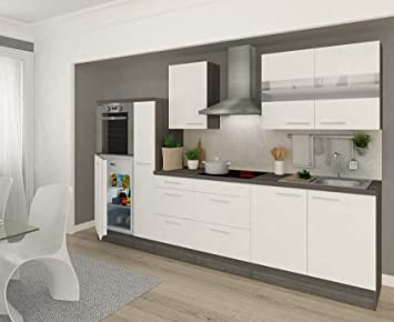 Superbe Respekta Bloc Cuisine «Premium», Largeur : 300 Cm Couleur : Blanc