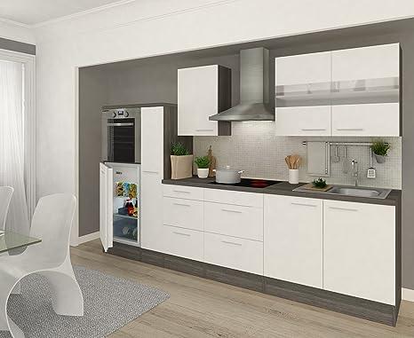respekta - Blocco da Cucina, 300 cm, in Finto Rovere Grigio ...