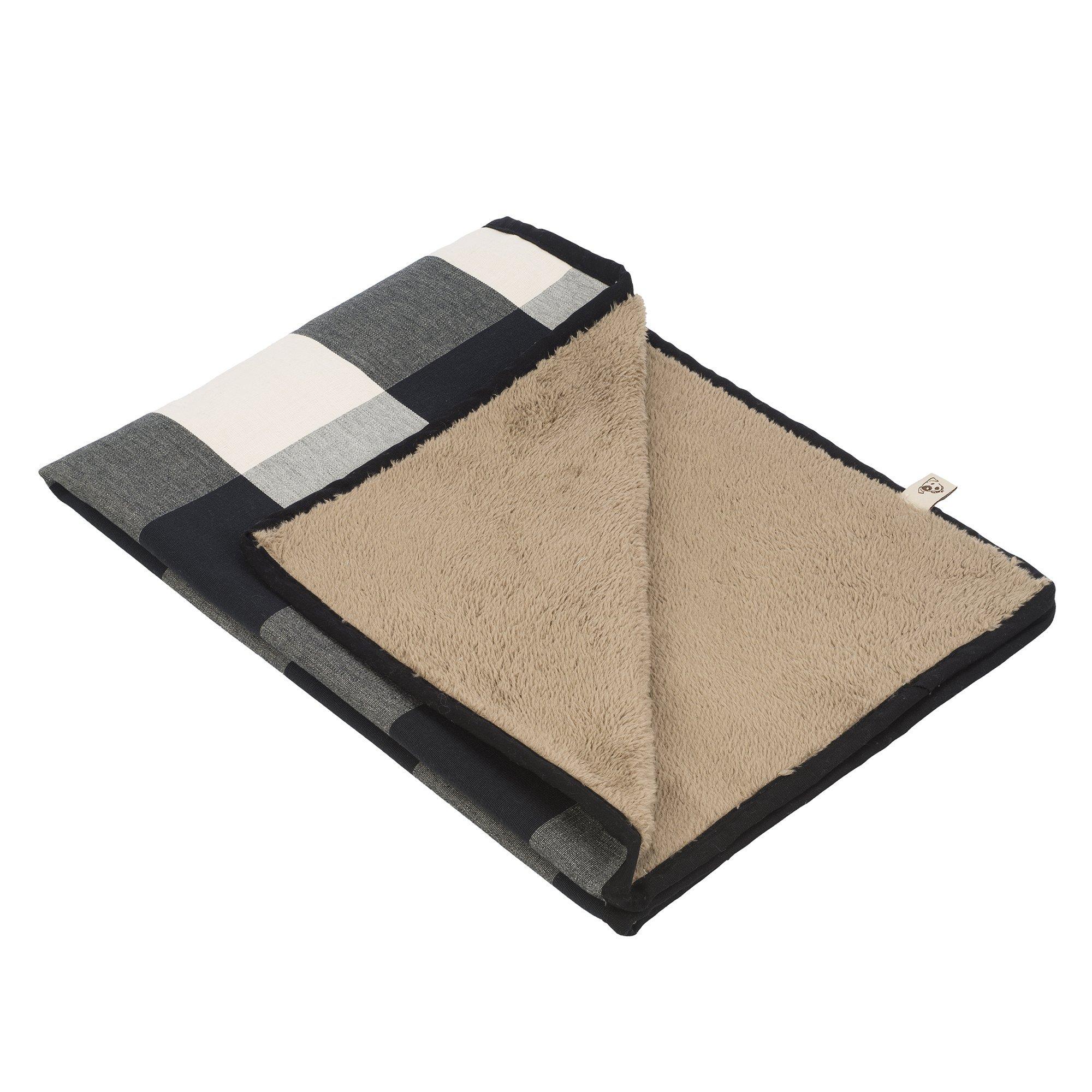 Jax and Bones Buffalo Check Standard Pet Blanket, Large, Black