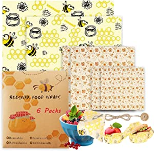 Beeswax Reusable Food Wraps 6 Packs Sustainable Organic Bees Wax Wrap Eco Friendly Plastic-Free for Food Storage, Zero Waste Sandwich Wrappers Bowl Covers (Bees&Beesflower)