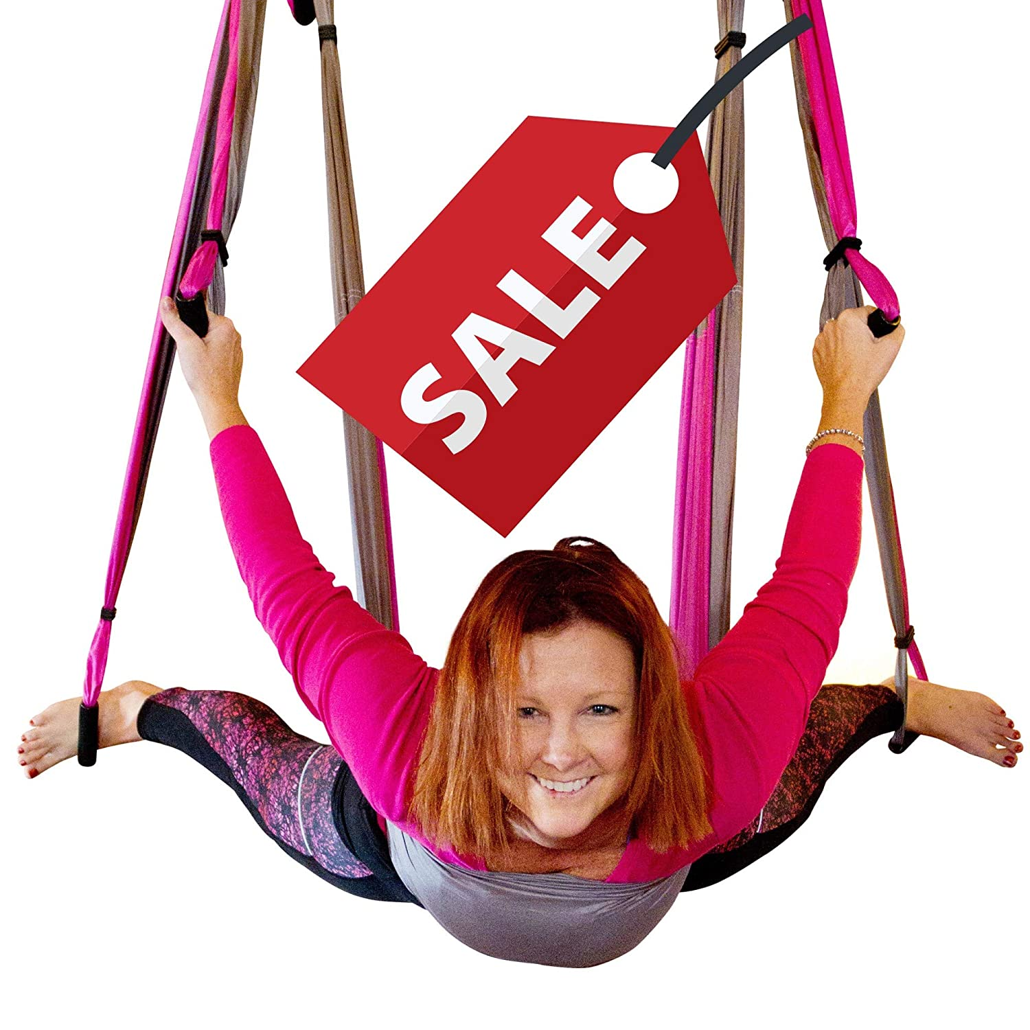 Aerial Trapeze Yoga Swing – UPDATED VERSION Gym Strength Antigravity Yoga Hammock – Inversion Trapeze Sling Exercise Equipment with Two Extender Hanging Straps – Blue Swings Beginner Instructions
