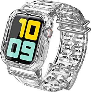 AhaStyle Crystal Clear iWatch Band Strap with Rugged Bumper Case Accessories Compatible with Apple Watch 38mm 40mm , iWatch Series SE/6/5/4/3/2/1(38mm/40mm)