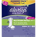 Always Daily Liners Multiform With Fresh Scent, Normal, 60 Count