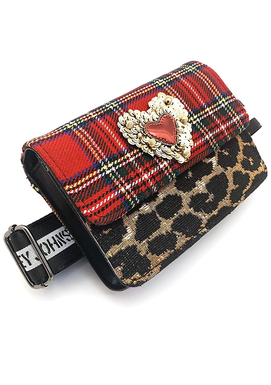 Betsey Johnson Ur Cheetah Heart Fanny Pack Cute Accessory Bag in Red Plaid Cheetah Print Heart Detail