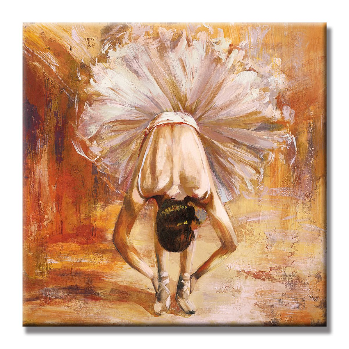 SEVEN WALL ARTS - 100 % Hand Painted Abstract Romantic Painting Ready to Hang for Home Decor (Girl In The Dance Ballet, 24 x 24 Inch)