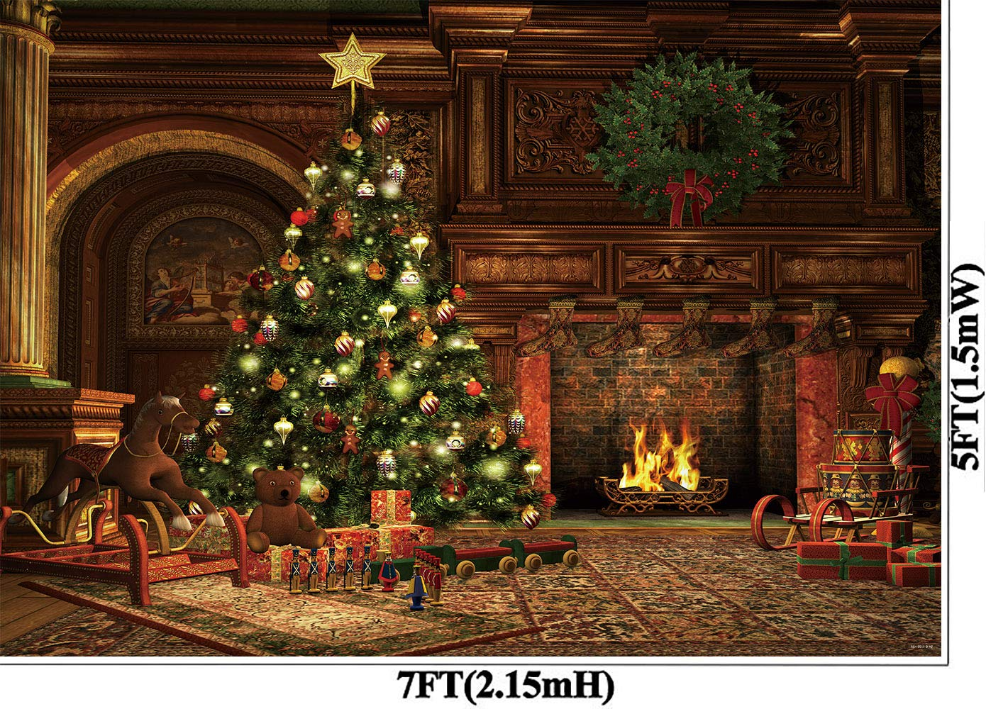 Christmas Tree Living.Allenjoy 7x5ft Christmas Eve Photography Backdrops Vintage Living Room Xmas Tree Fireplace Presents Year Party Decorations Background Photo Studio