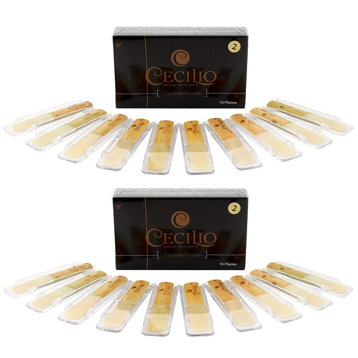 Cecilio Clarinet Reeds, TWO 10-pack with Individual Plastic Case, Strength 2.0 (Total of 20 Reeds) Cecilio Musical Instruments Reedsx2-CT_2.0