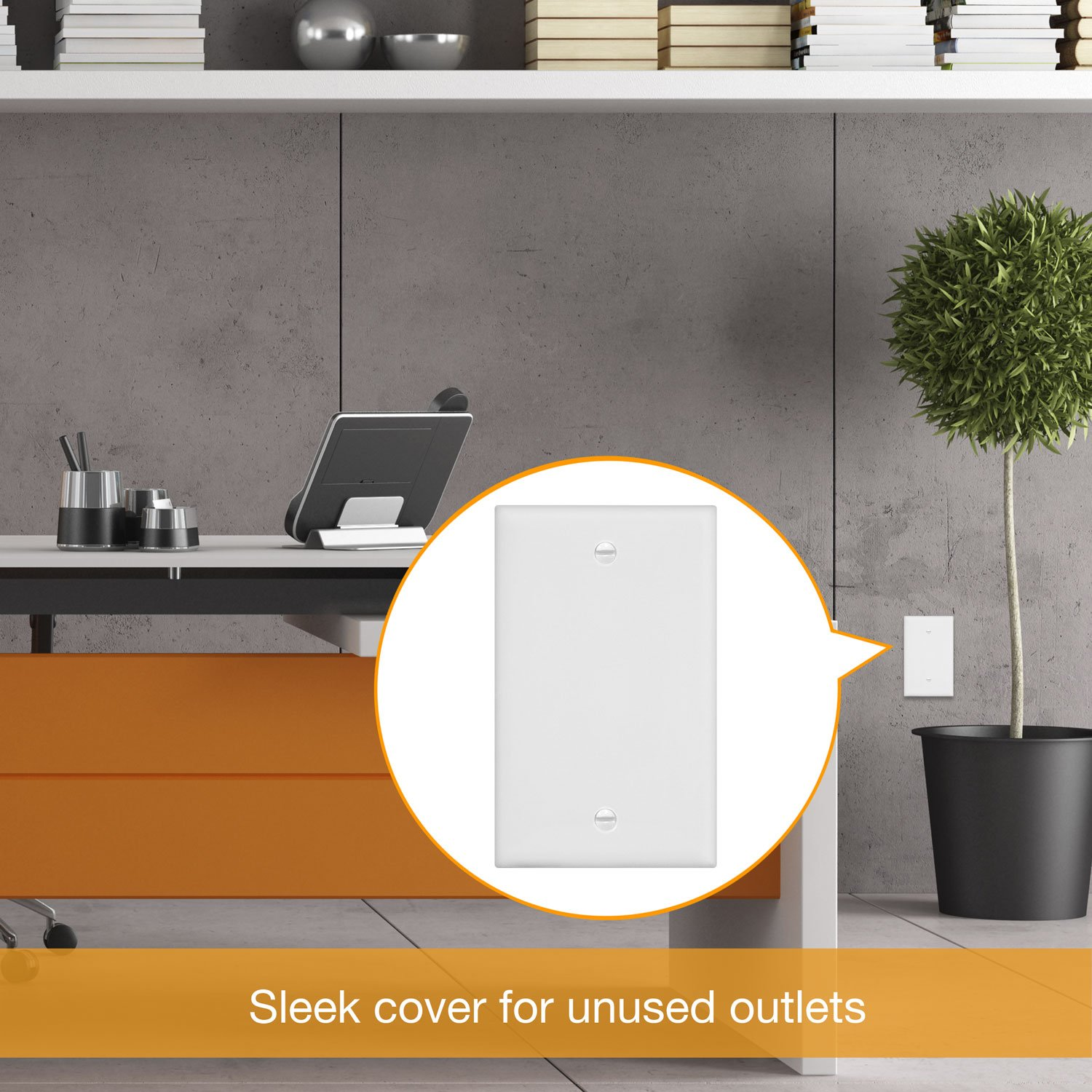 Enerlites 8801-W-10PCS Blank Cover Wall Plate, Standard Size 1-Gang, Polycarbonate Thermoplastic, White (10 Pack) by Enerlites (Image #7)