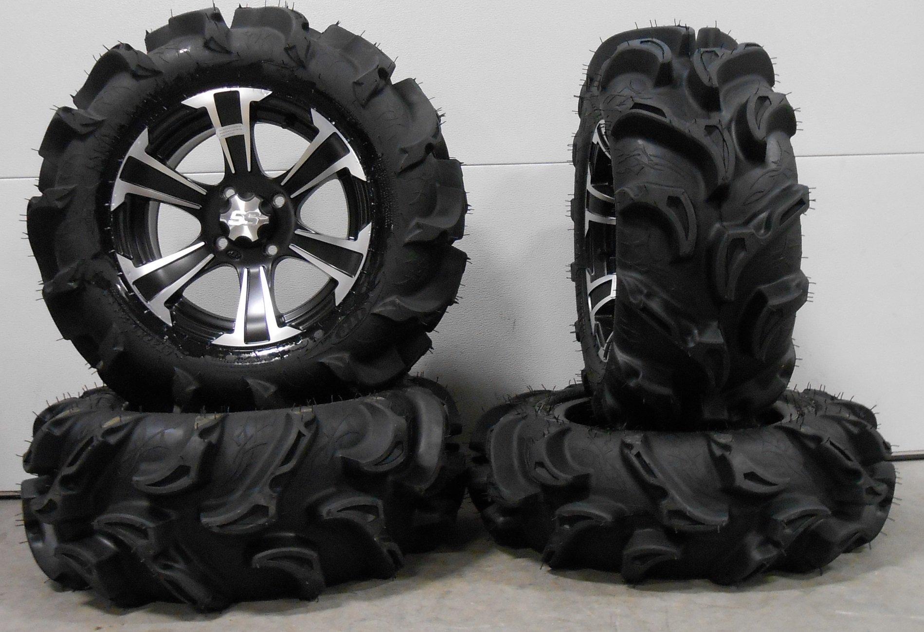 Bundle - 9 Items: ITP SS312 14'' Wheels Black 27'' Mega Mayhem Tires [4x156 Bolt Pattern 3/8x24 Lug Kit]