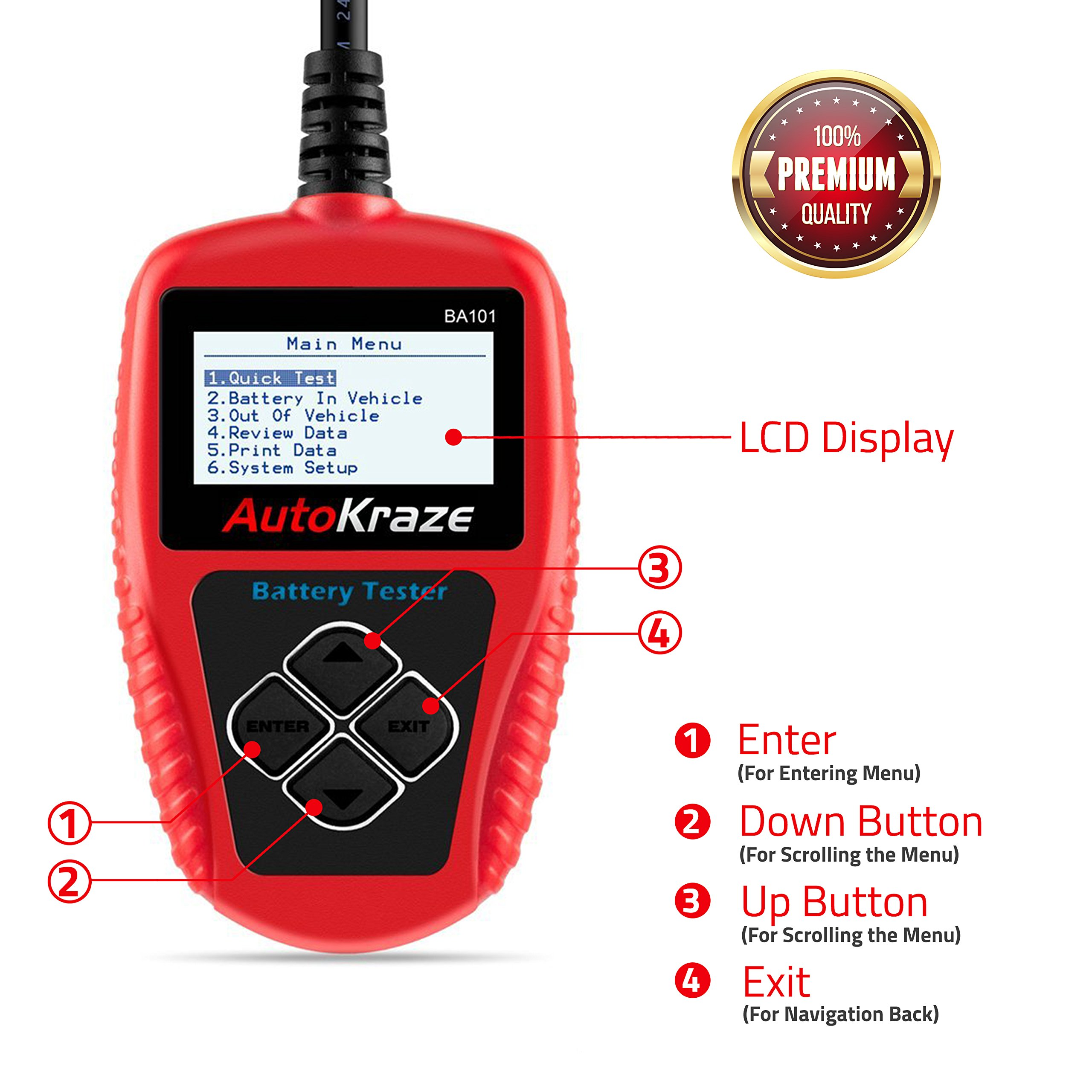 AutoKraze BA101 Automotive Battery Load Tester 12V 100-2000 CCA Bad Cell Test Analyzer Tool Directly Test Car, Boat, and Motorcycle Battery Status Portable, Digital and Rechargeable Battery Tester by AutoKraze (Image #6)