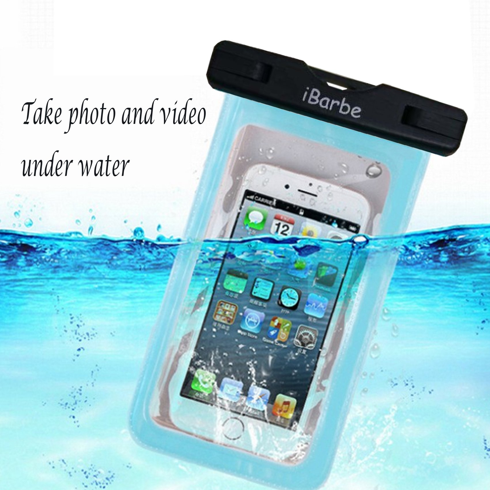 iBarbe 2 Pack Waterproof Case, Universal Cell Phone Plasic TPU Dry Bag for iPhone 7 7 plus 6S 6/6S Plus 5/S/SE 5C samsung galaxy Note 5 s8 s8 plus S 8 S7 S6 Edge s5 etc.to 5.7 inch,Tear+Blue by iBarbe (Image #4)