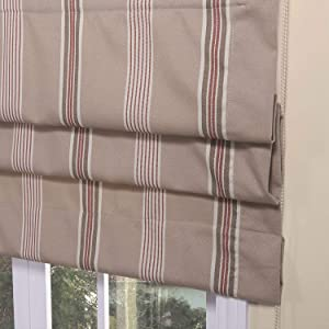 Artdix Roman Shades Blinds Window Shades - Taupe Stripe 47.5 W x 72L Inches Lined Blackout Cotton Thermal Fabric Custom Roman Shades for Windows, Doors, French Doors, Kitchen