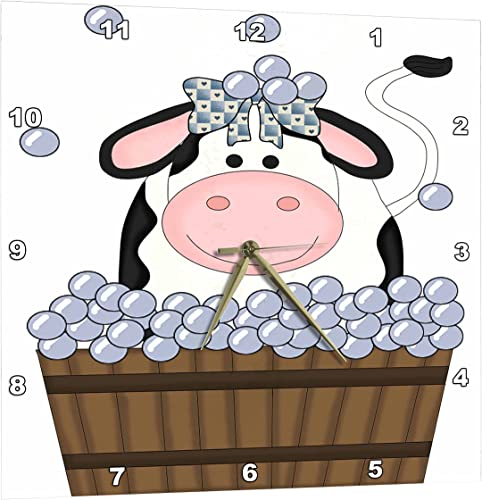 3dRose Cute Girl Cow in A Wooden Bath Tub with Bubbles – Wall Clock, 10 by 10-Inch DPP_215458_1