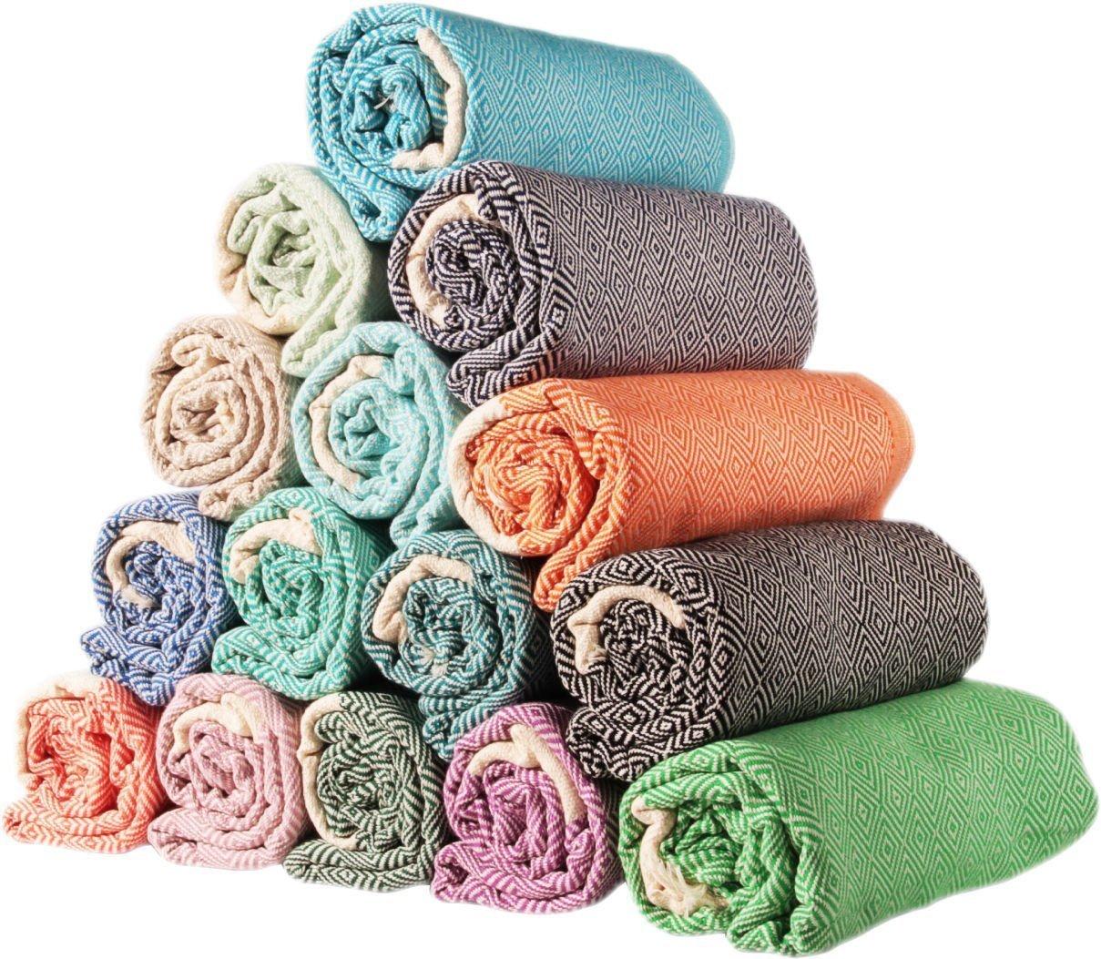 Sale Set of 4 XL Diamond Turkish Hamam Peshtemal Cotton Bath Face Towel Spa Bath