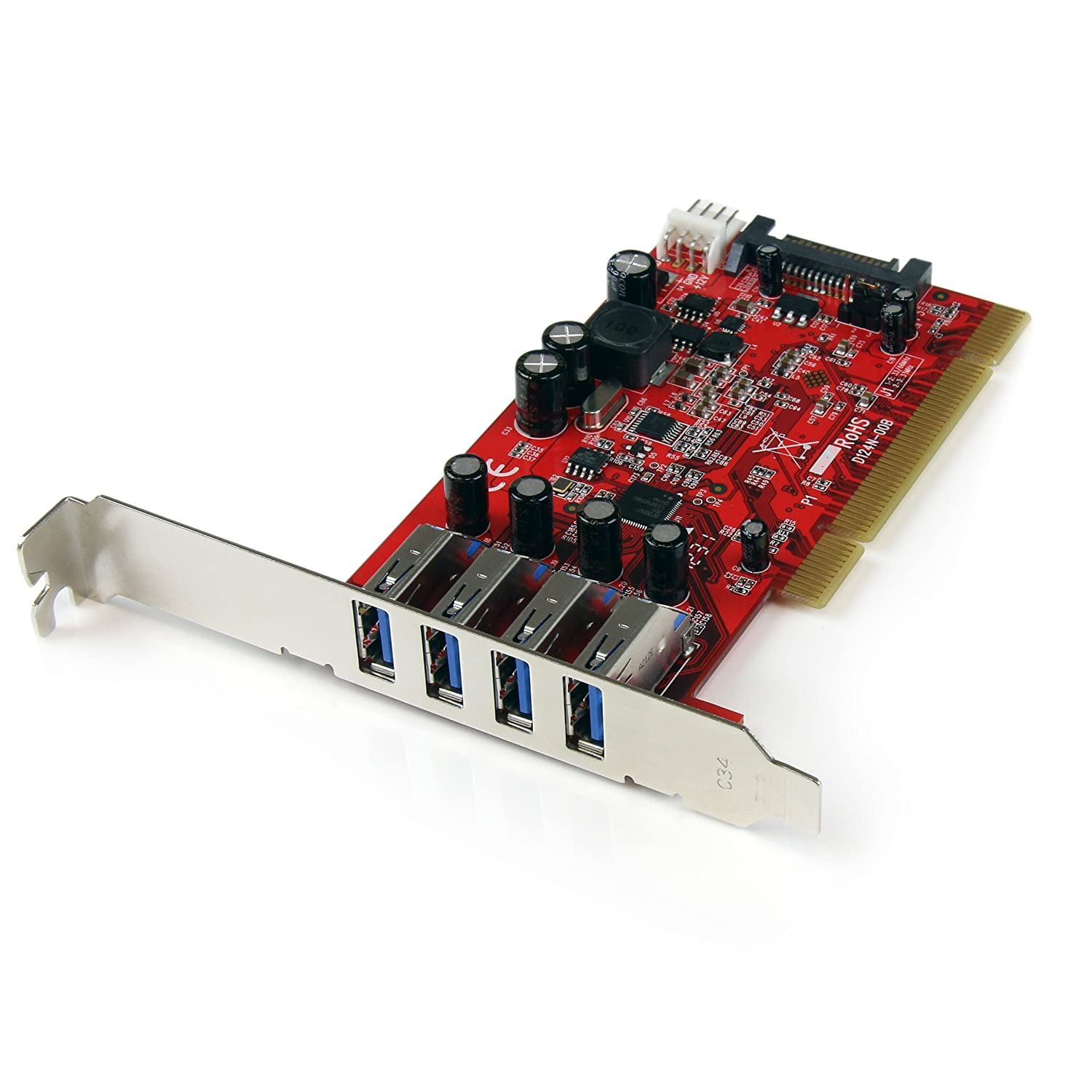 StarTech.com 4 Port PCI SuperSpeed USB 3.0 Adapter Card with SATA/SP4 Power - Quad Port PCI USB 3 Controller Card