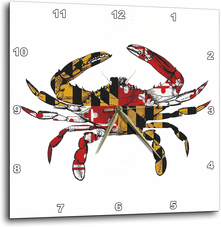 3dRose DPP_193242_3 Maryland Crab Flag. Wall Clock, 15 by 15-Inch
