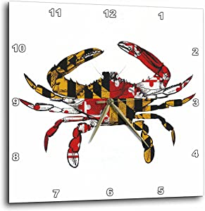 3dRose DPP_193242_3 Maryland Crab Flag. Wall Clock, 15 by 15-Inch