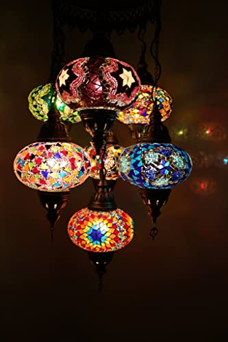 Turkish Moroccan Style Mosaic Multicolour Lamp Hanging Lamp Light Small Globe