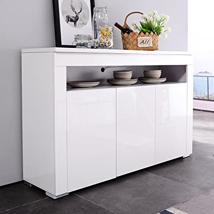 Mecor LED Light Adjustable Color Sideboard Buffet Storage White Kitchen  Dining Room (3 Door U0026