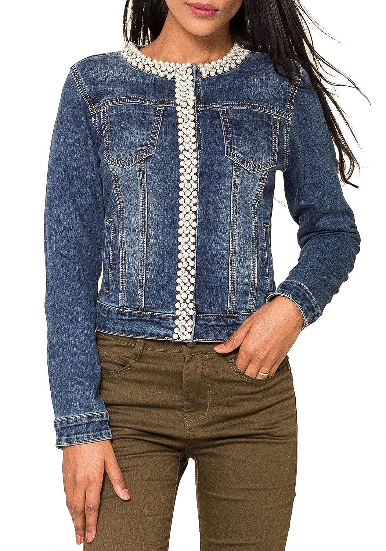 Veste Femme Jeans Perles Coller Briller Gilet Blouson Jacket Court D2259